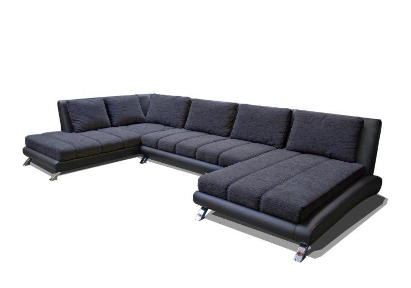 wohnlandschaft schwarz grau recamiere rechts wohnlandschaften u form sofas couches. Black Bedroom Furniture Sets. Home Design Ideas