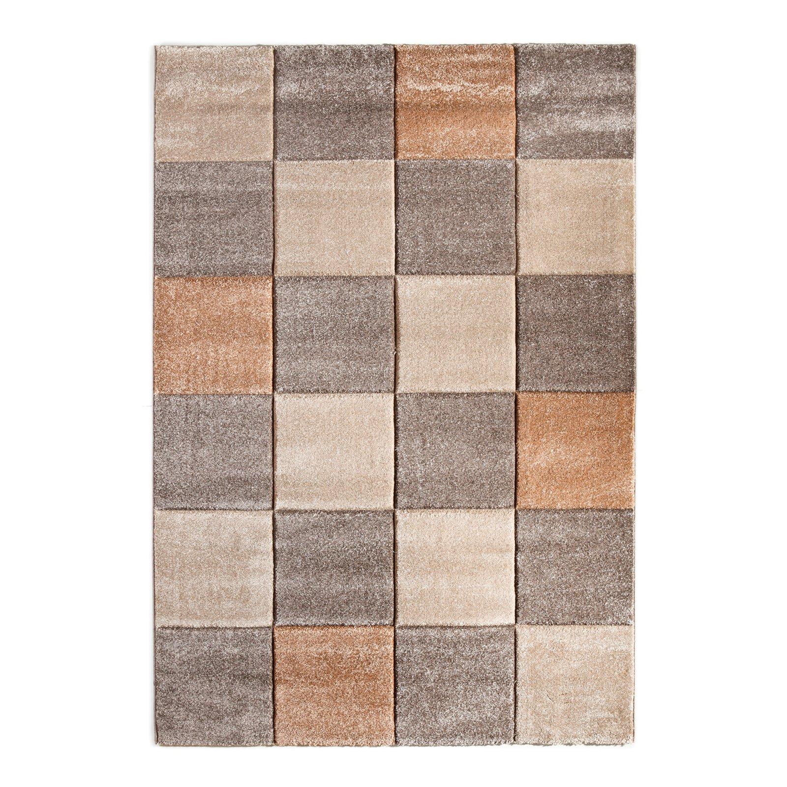Teppich BORDEAUX  Karo braunbeige  67×140 cm