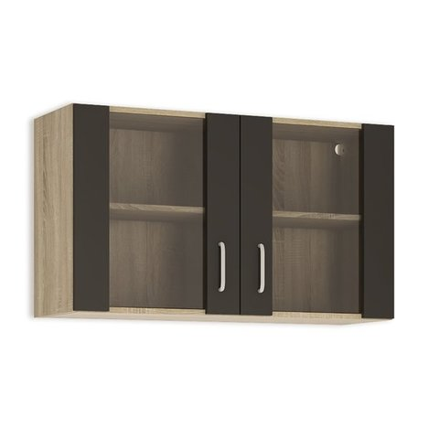 glash ngeschrank fox anthrazit sonoma eiche 100 cm breit h ngeschr nke einzelschr nke. Black Bedroom Furniture Sets. Home Design Ideas
