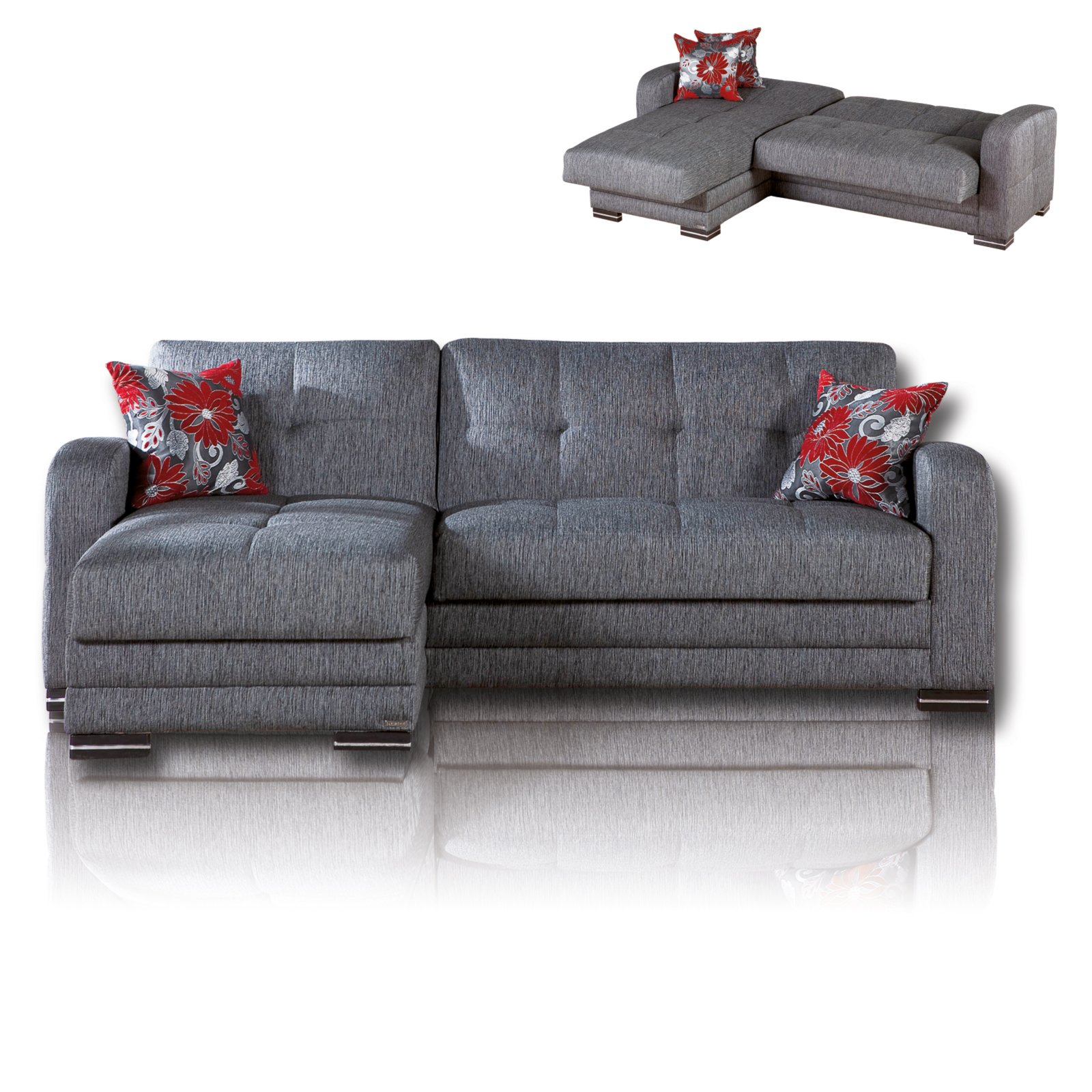 roller ecksofa grau schwarz mit funktionen ebay. Black Bedroom Furniture Sets. Home Design Ideas