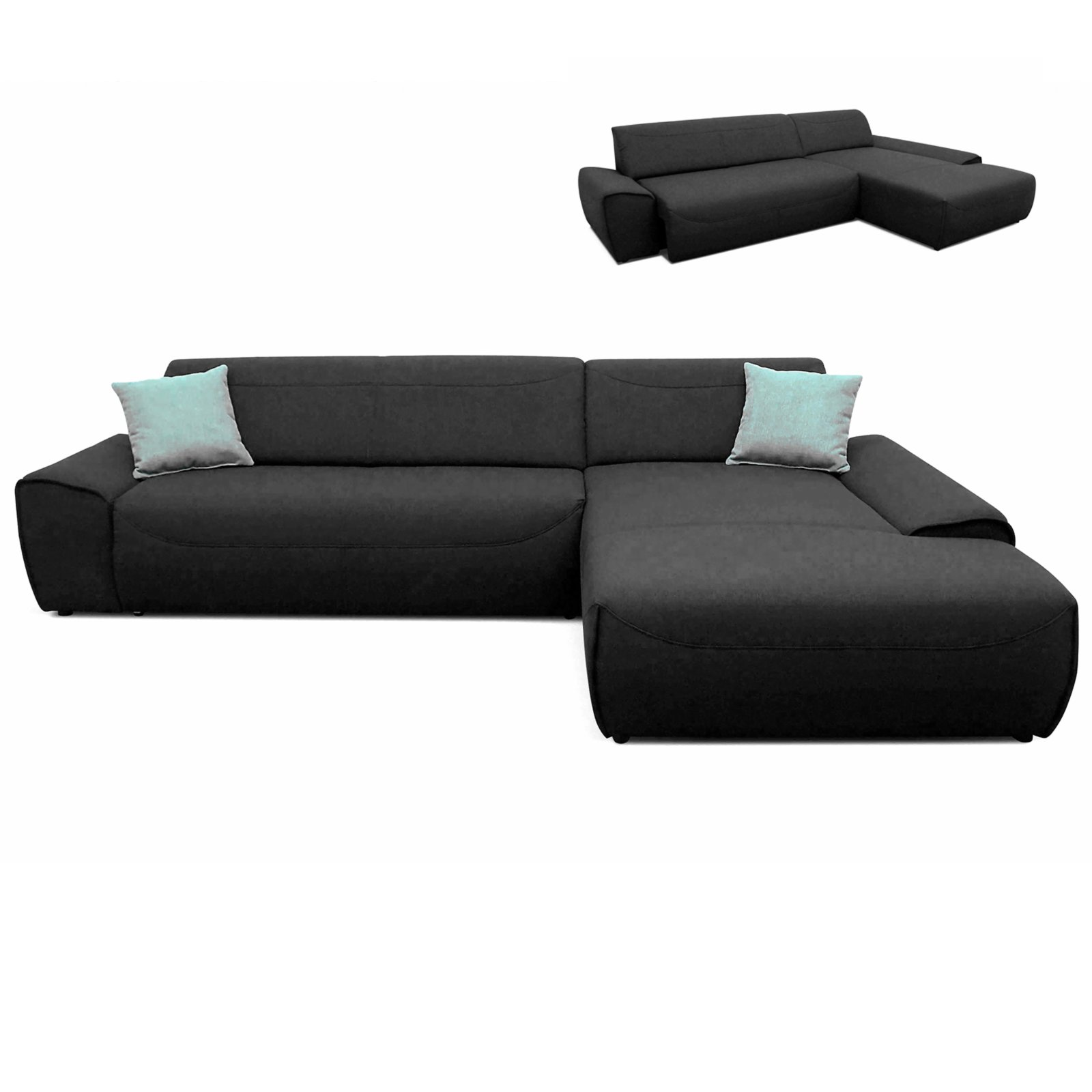 Ecksofa anthrazit sitzauszug links ecksofas l form for Ecksofa 3 00 m