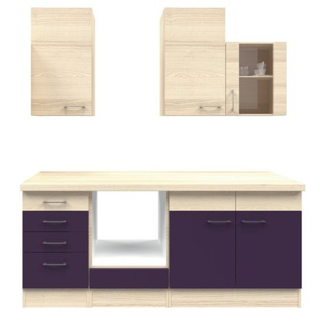 k chenblock focus akazie aubergine 210 cm k chenzeilen ohne e ger te k chenzeilen. Black Bedroom Furniture Sets. Home Design Ideas