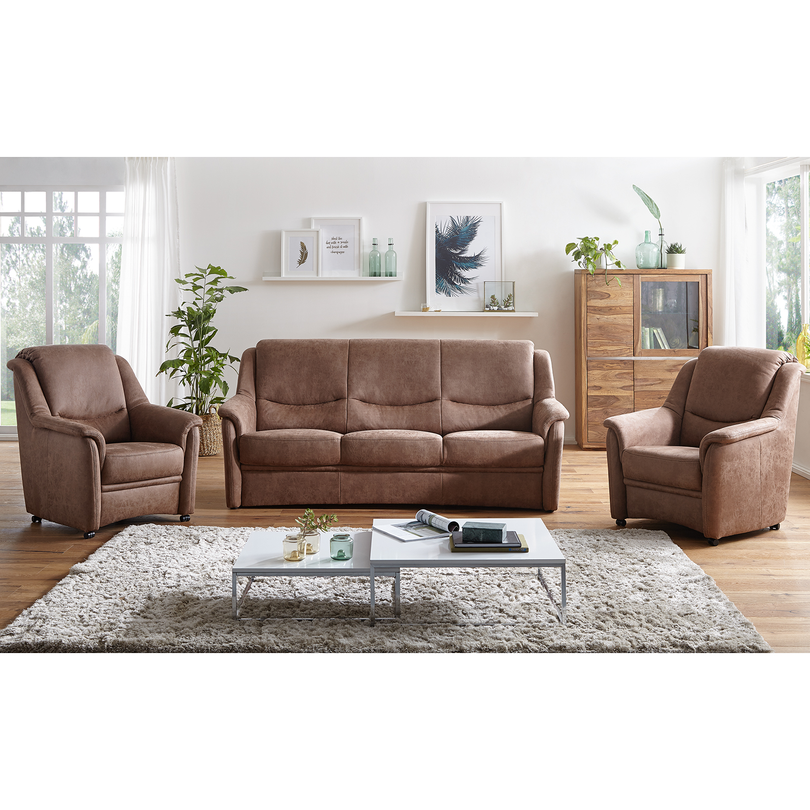 3 Sitzer Sofa toffee Microfaser