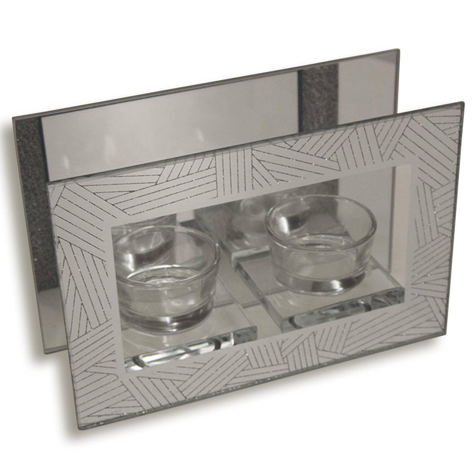 kerzenhalter silber f r 2 teelichter kerzen kerzenhalter deko artikel deko. Black Bedroom Furniture Sets. Home Design Ideas