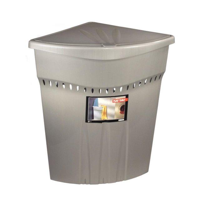 w schekorb silber mit deckel 45 liter w schek rbe sammler badezimmer wohnbereiche. Black Bedroom Furniture Sets. Home Design Ideas