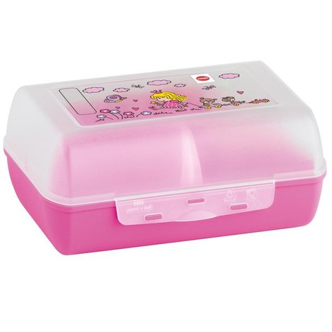 Lunchbox PRINCESS - transparent-rosa - mit Trennwand