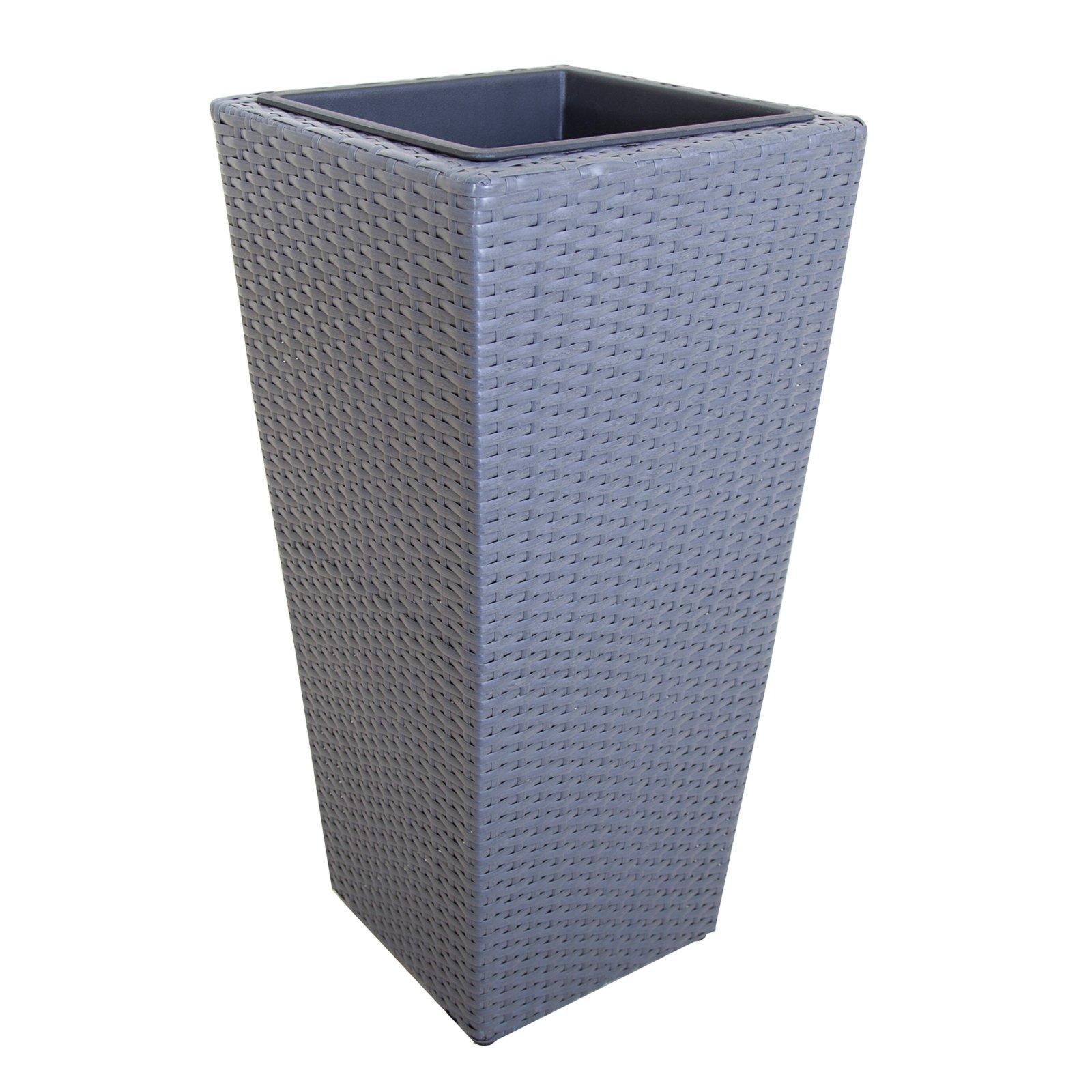 pflanzk bel betongrau rattan optik 64 cm. Black Bedroom Furniture Sets. Home Design Ideas