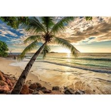 4-teilige Fototapete - Tropical Beach Sunset - 368x254 cm