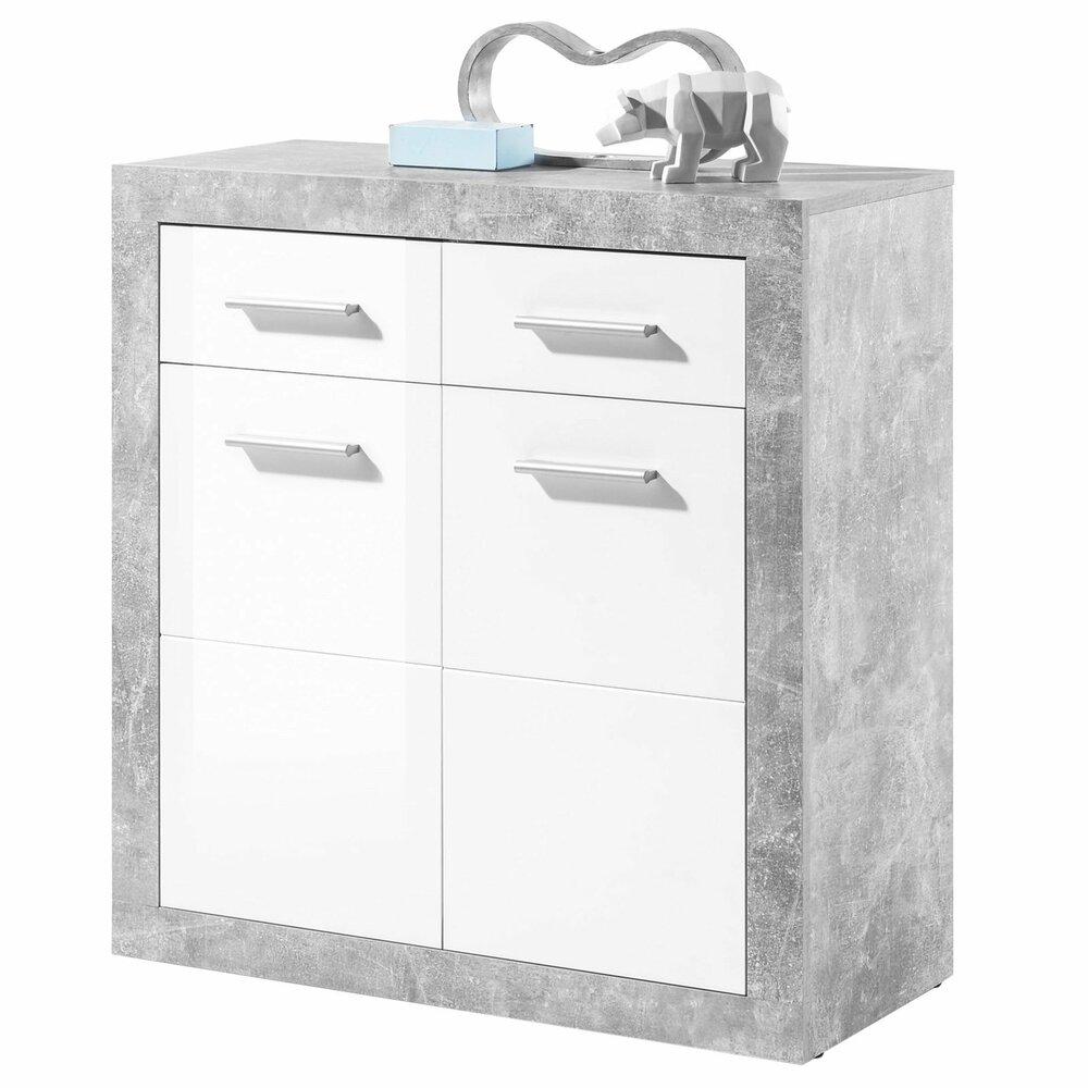 kommode stone beton wei hochglanz 82 cm kommoden sideboards m bel roller m belhaus. Black Bedroom Furniture Sets. Home Design Ideas