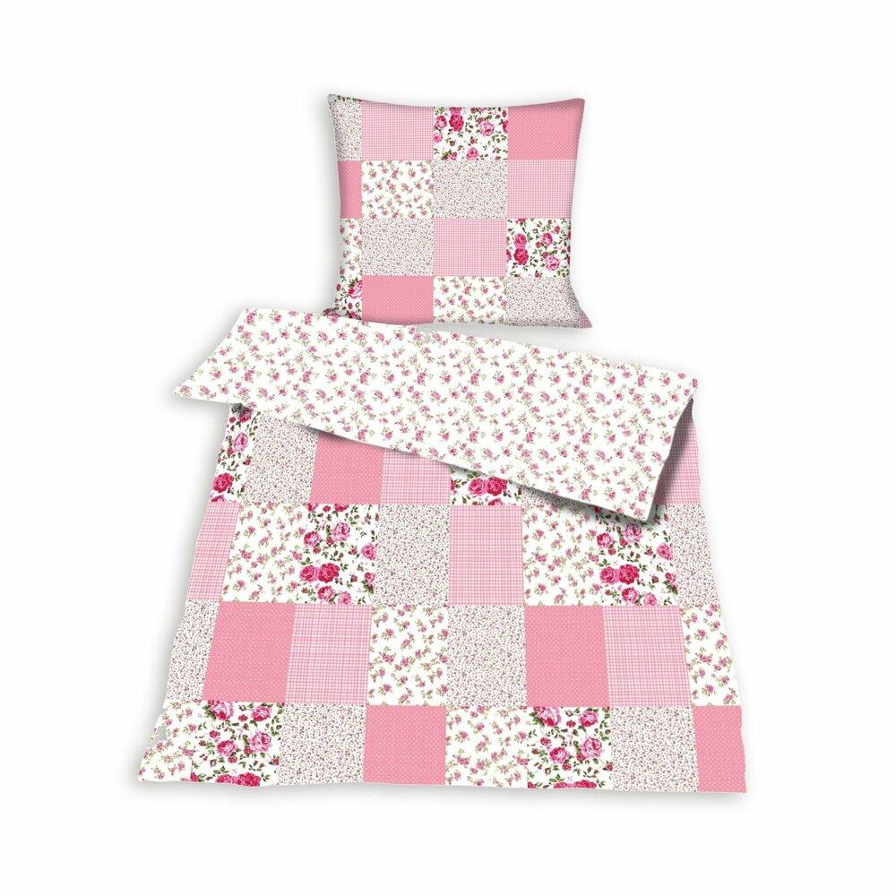 bettw sche patchwork rosa baumwolle 135x200 cm. Black Bedroom Furniture Sets. Home Design Ideas
