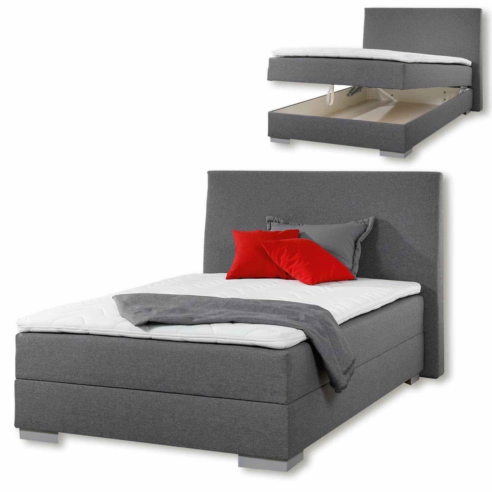boxspringbett jumper grau h2 120x200 cm ebay. Black Bedroom Furniture Sets. Home Design Ideas