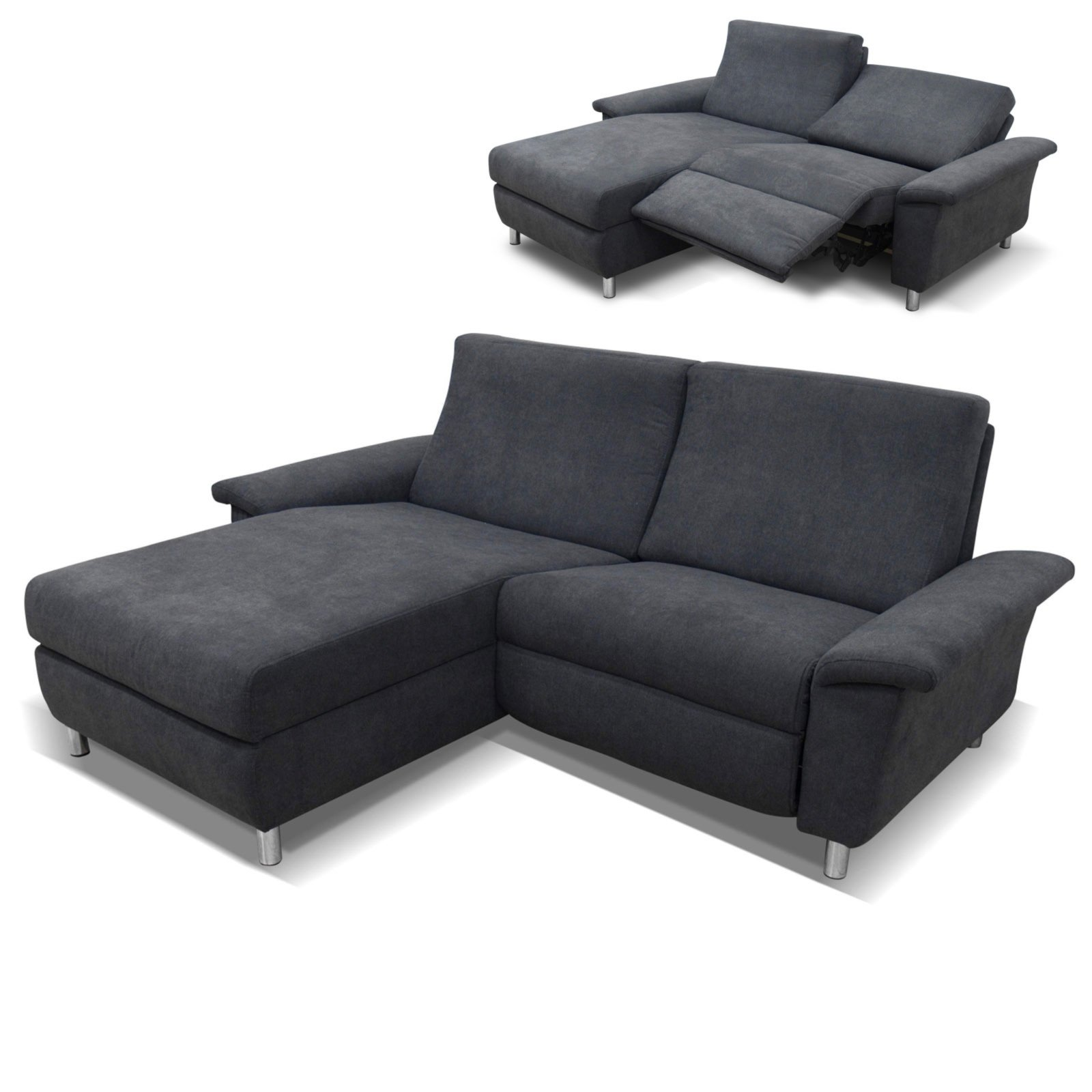 Ecksofa dunkelgrau recamiere links relaxfunktion for Ecksofa 3 00 m