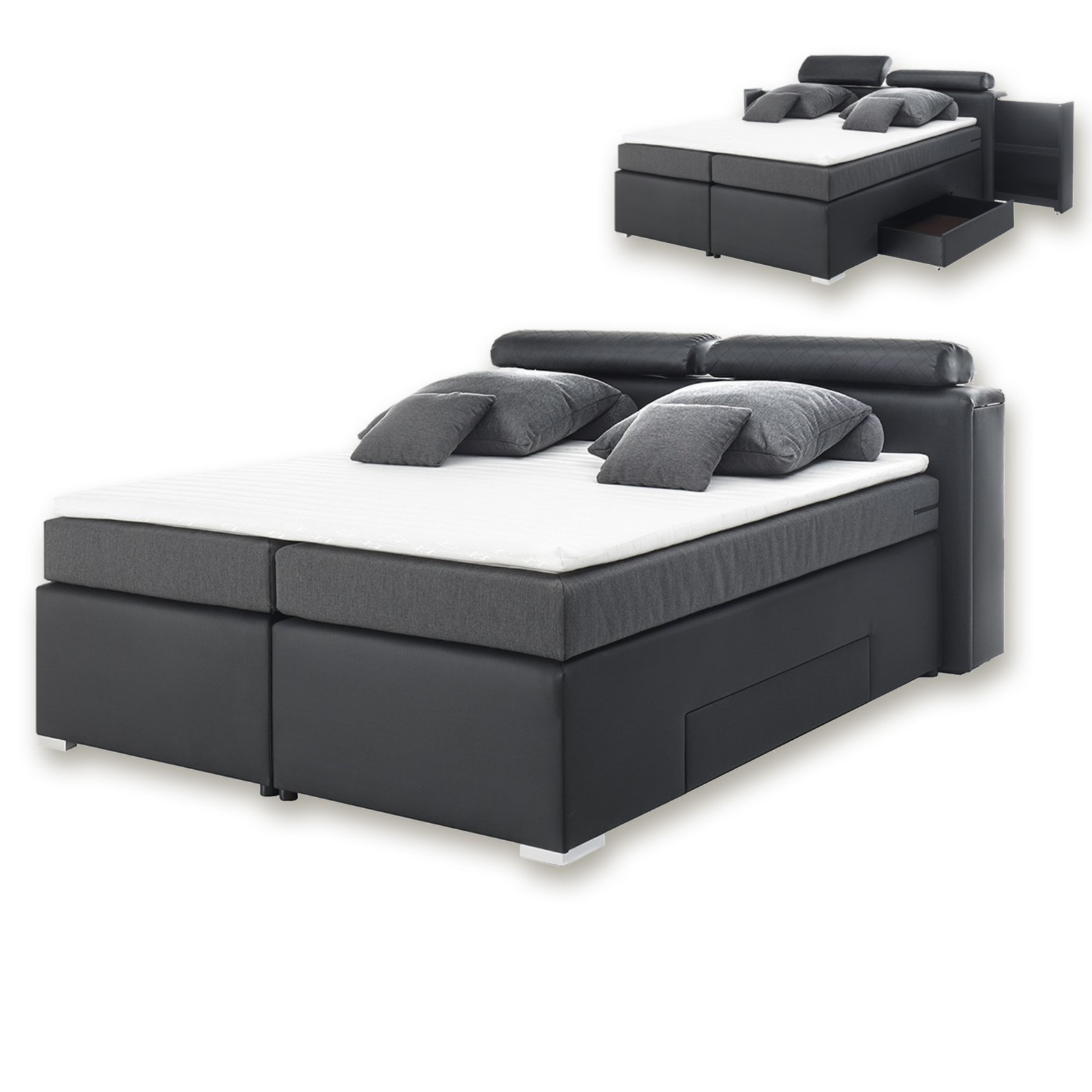 boxspringbett armando h2 schwarz anthrazit 180x200 cm boxspringbetten betten m bel. Black Bedroom Furniture Sets. Home Design Ideas