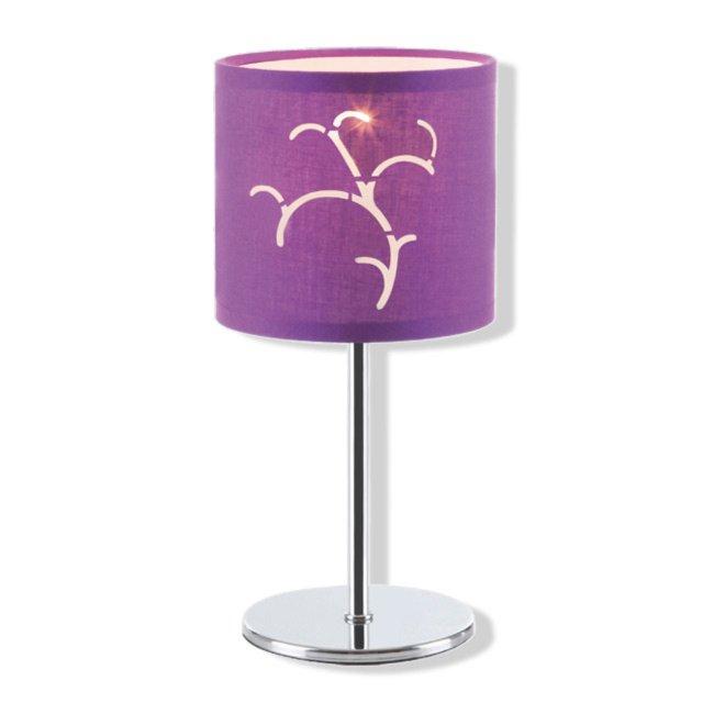 Tischlampe - Chrom - Stoff lila