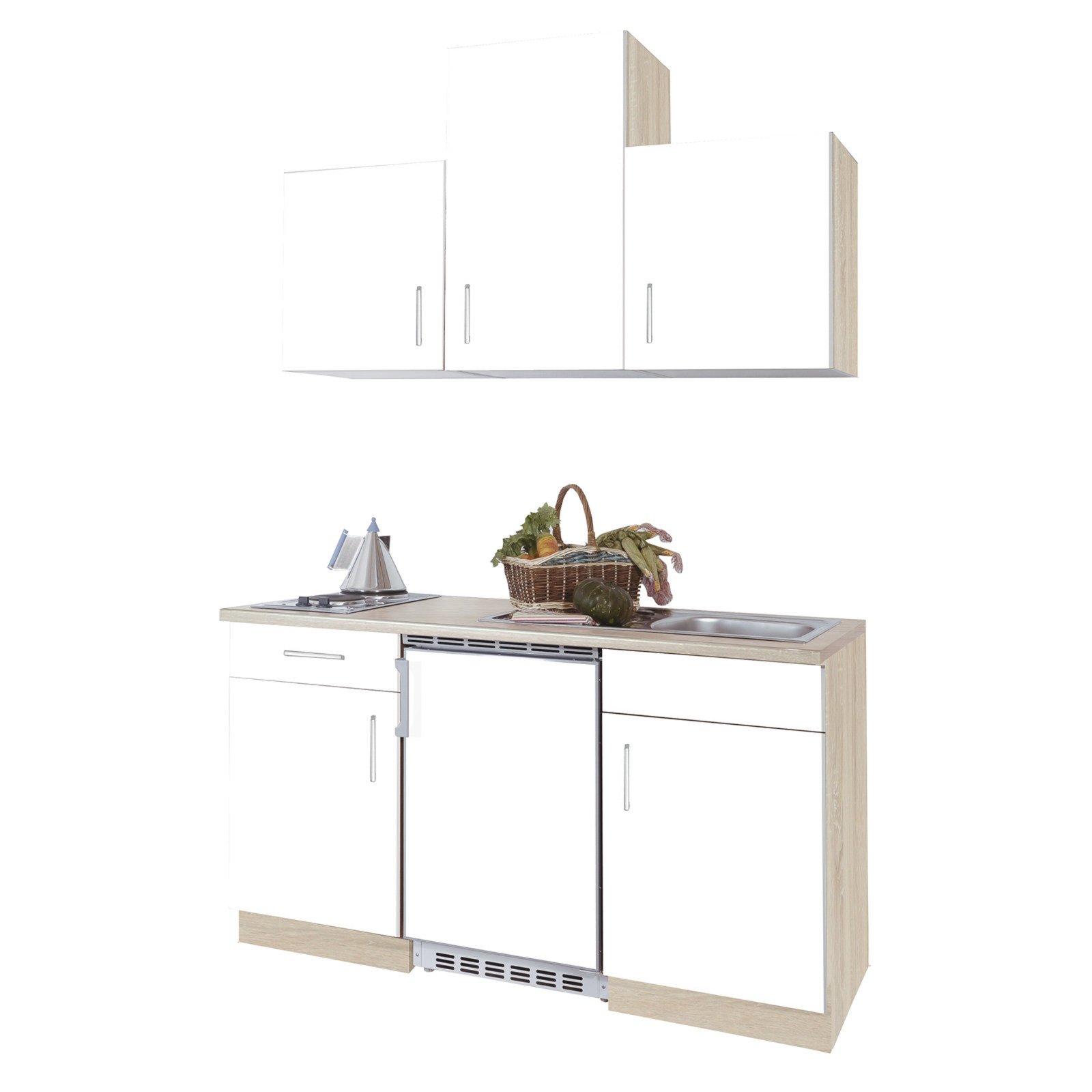 Singleküche - Sonoma-Eiche-weiß - 150 cm breit