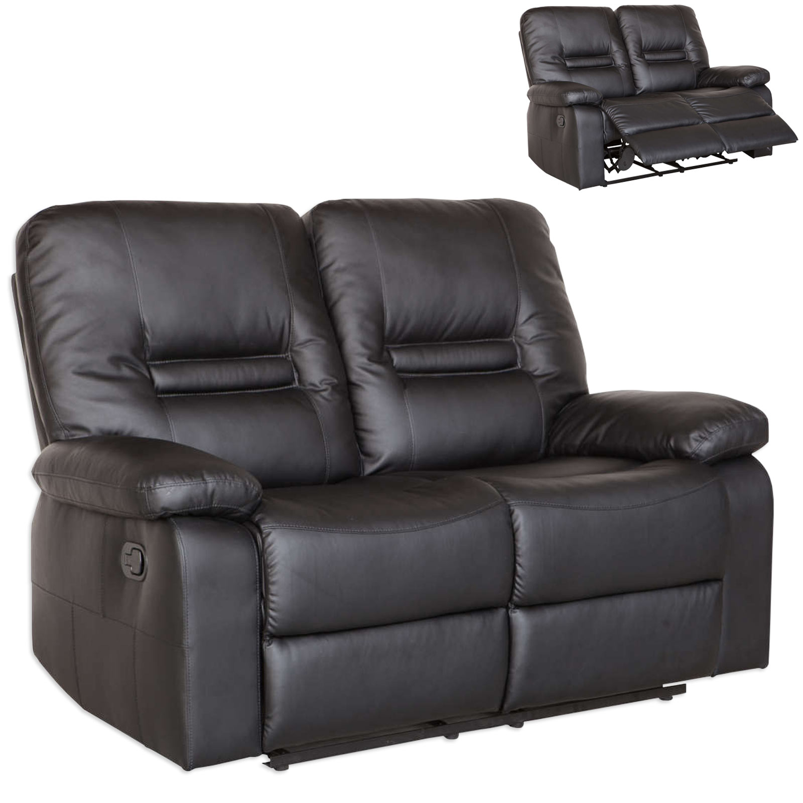 Set 2 Sofas mit Sessel mit Relaxfunktion
