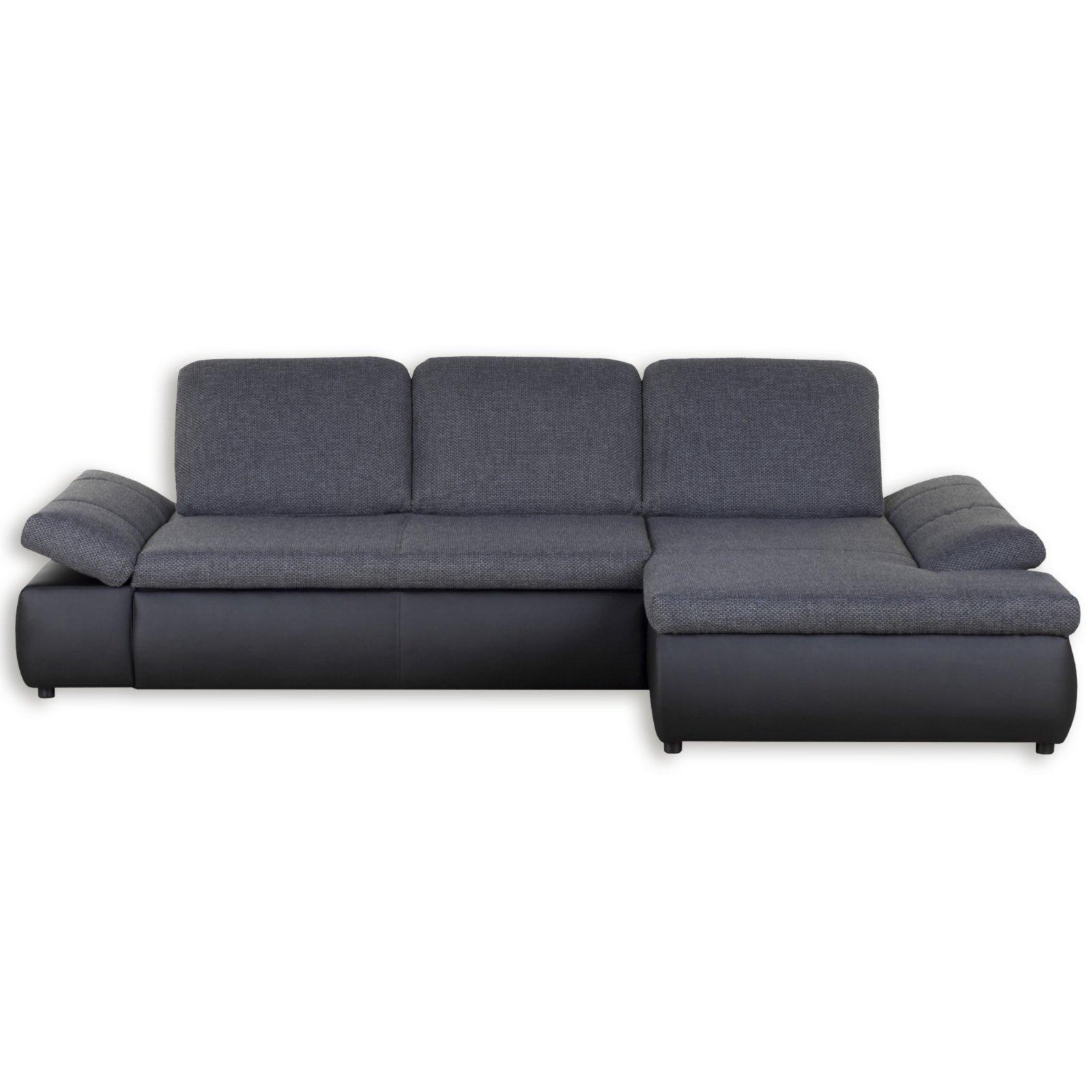 polsterecke schwarz grau sitztiefenverstellung recamiere rechts ecksofas l form sofas. Black Bedroom Furniture Sets. Home Design Ideas