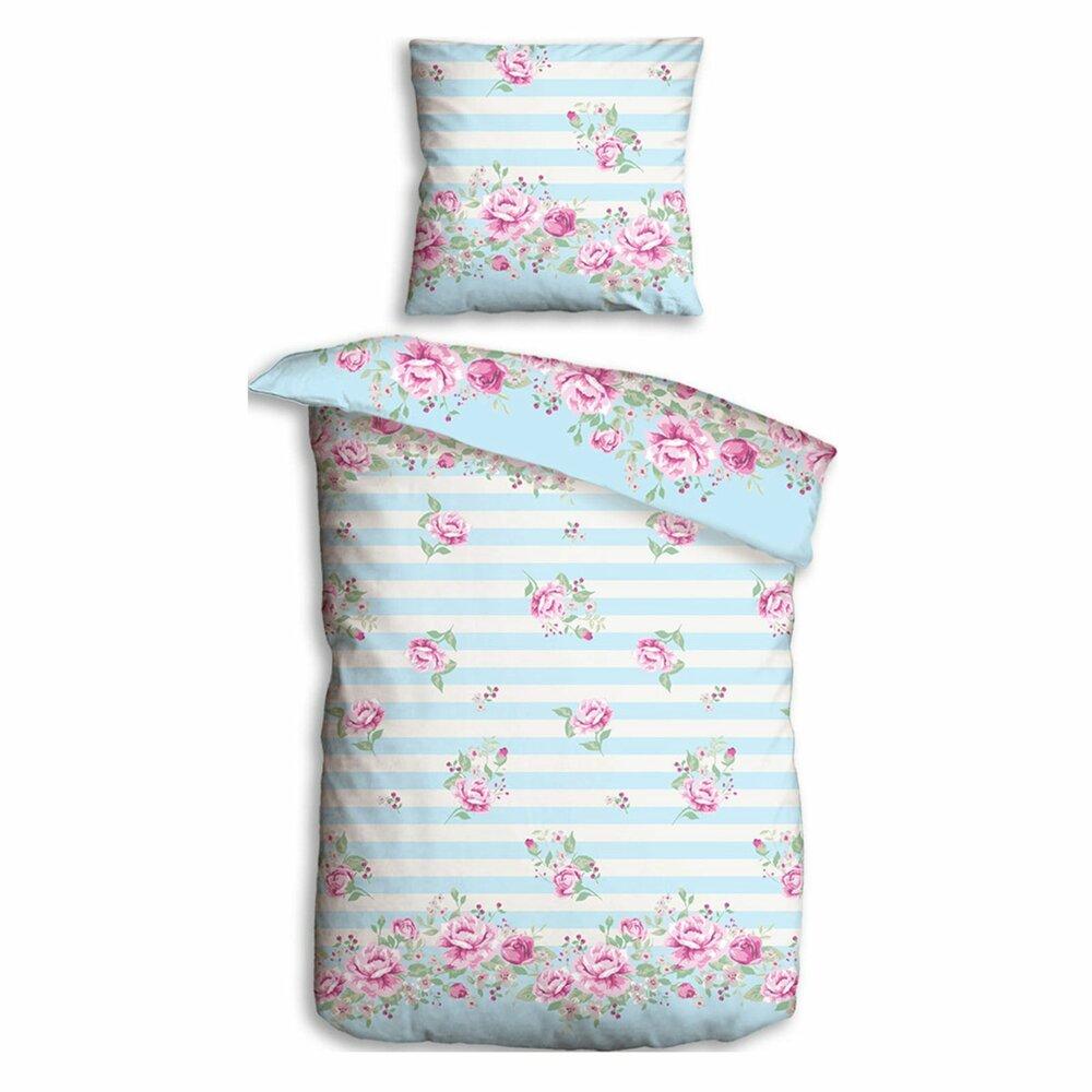 microfaser bettw sche rosen blau rosa 155x220 cm bettw sche bettw sche bettlaken. Black Bedroom Furniture Sets. Home Design Ideas