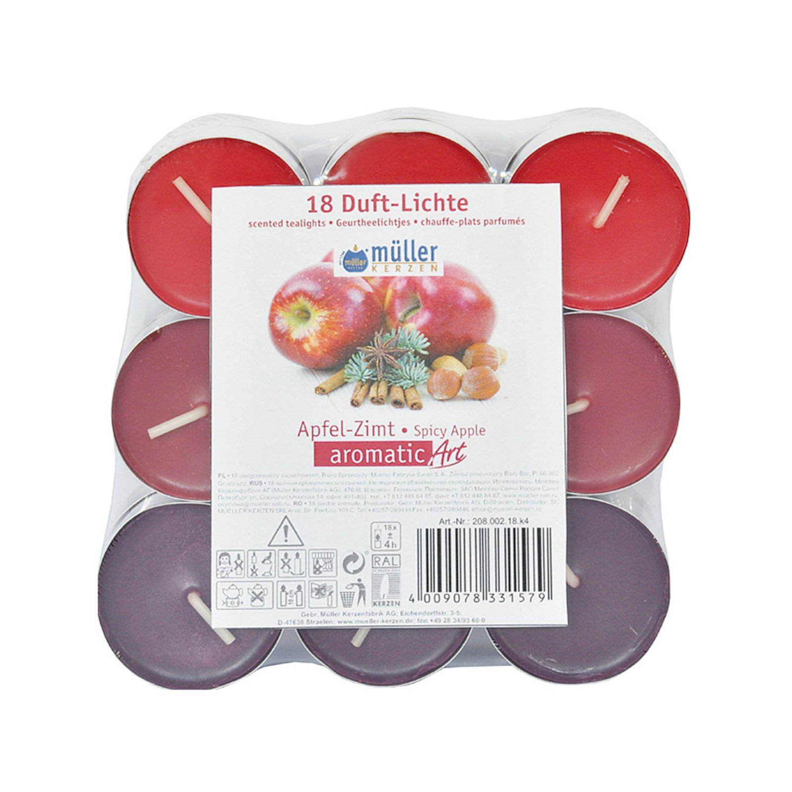 Duft Teelichte - 18er-Set - Apfel-Zimt