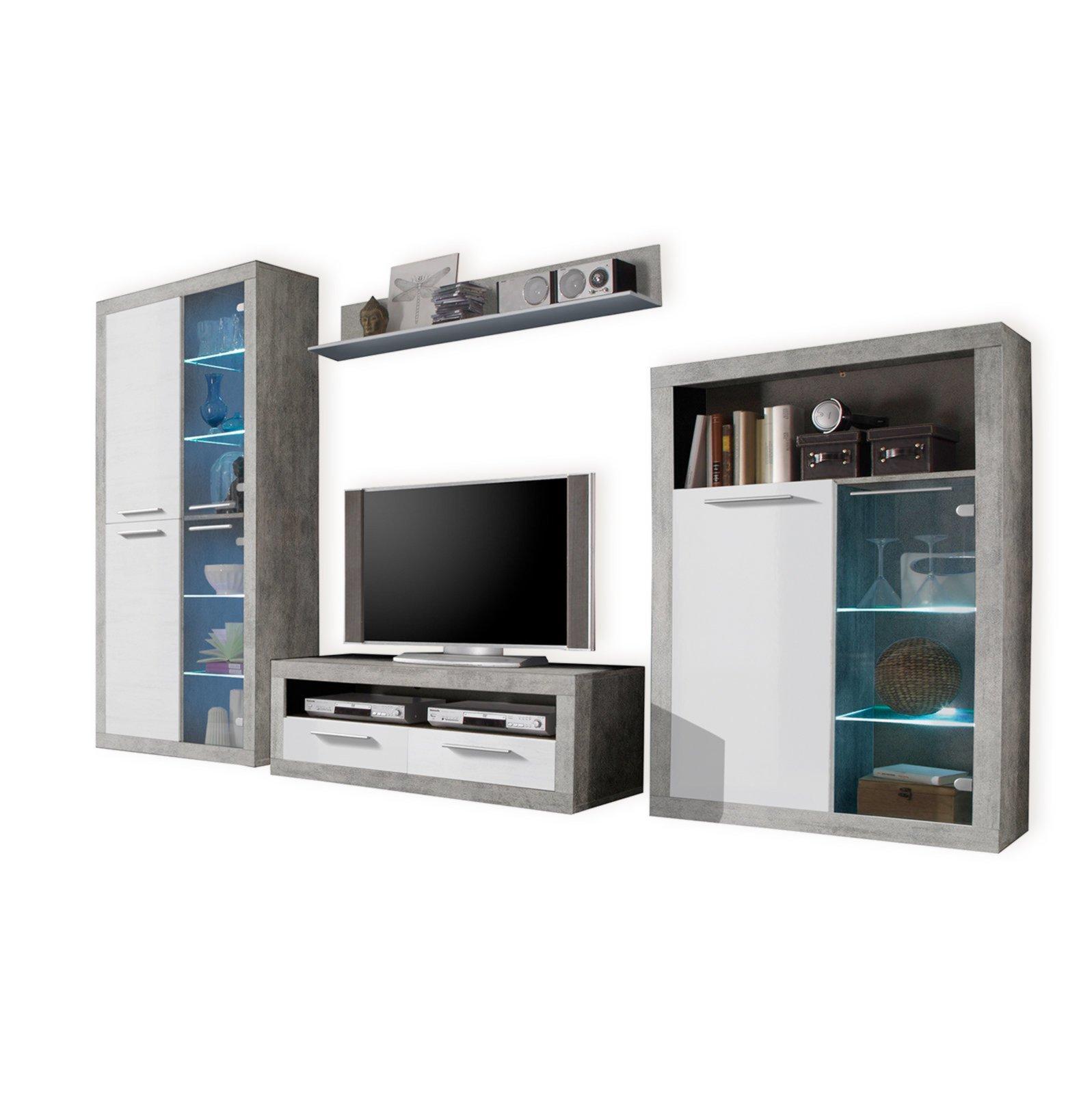 wohnwand stone wei grau hochglanz 304 cm breit wohnw nde m bel roller m belhaus. Black Bedroom Furniture Sets. Home Design Ideas