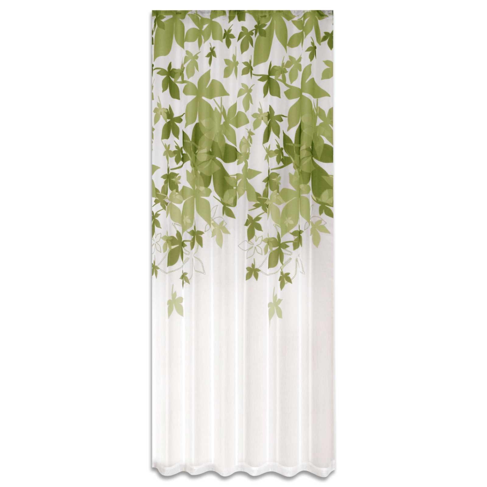 wende gardine lindgr n bl tter 140x235 cm transparente gardinen gardinen vorh nge. Black Bedroom Furniture Sets. Home Design Ideas