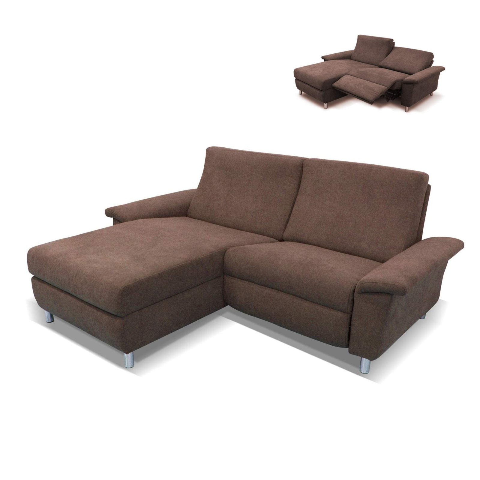 ecksofa braun recamiere links relaxfunktion ecksofas l form sofas couches m bel. Black Bedroom Furniture Sets. Home Design Ideas