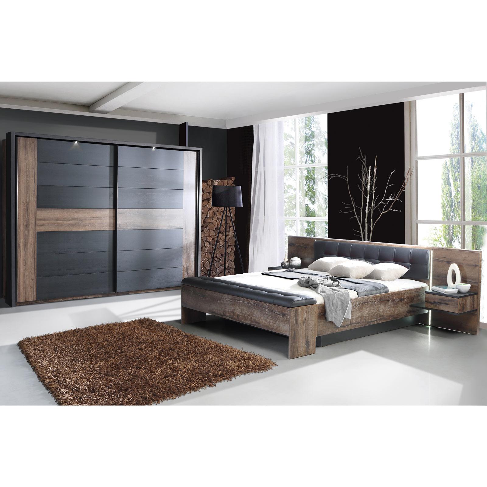 4-teiliges Schlafzimmer Set - Schlammeiche-Schwarzeiche