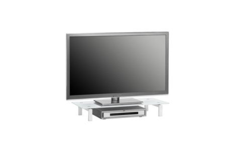 tv board wei metall mit glasplatte 82 cm breit beleuchtung zubeh r wohnw nde. Black Bedroom Furniture Sets. Home Design Ideas