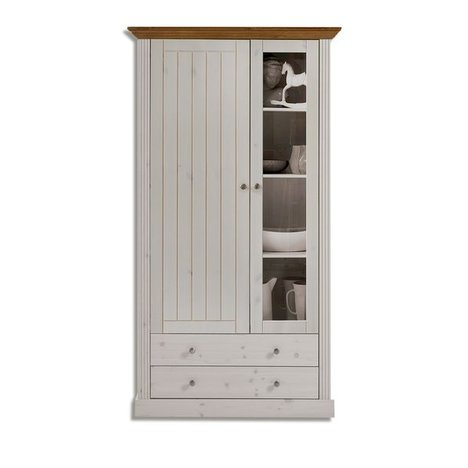Vitrine MONACO - white wash - Kiefer massiv - 103,9 cm