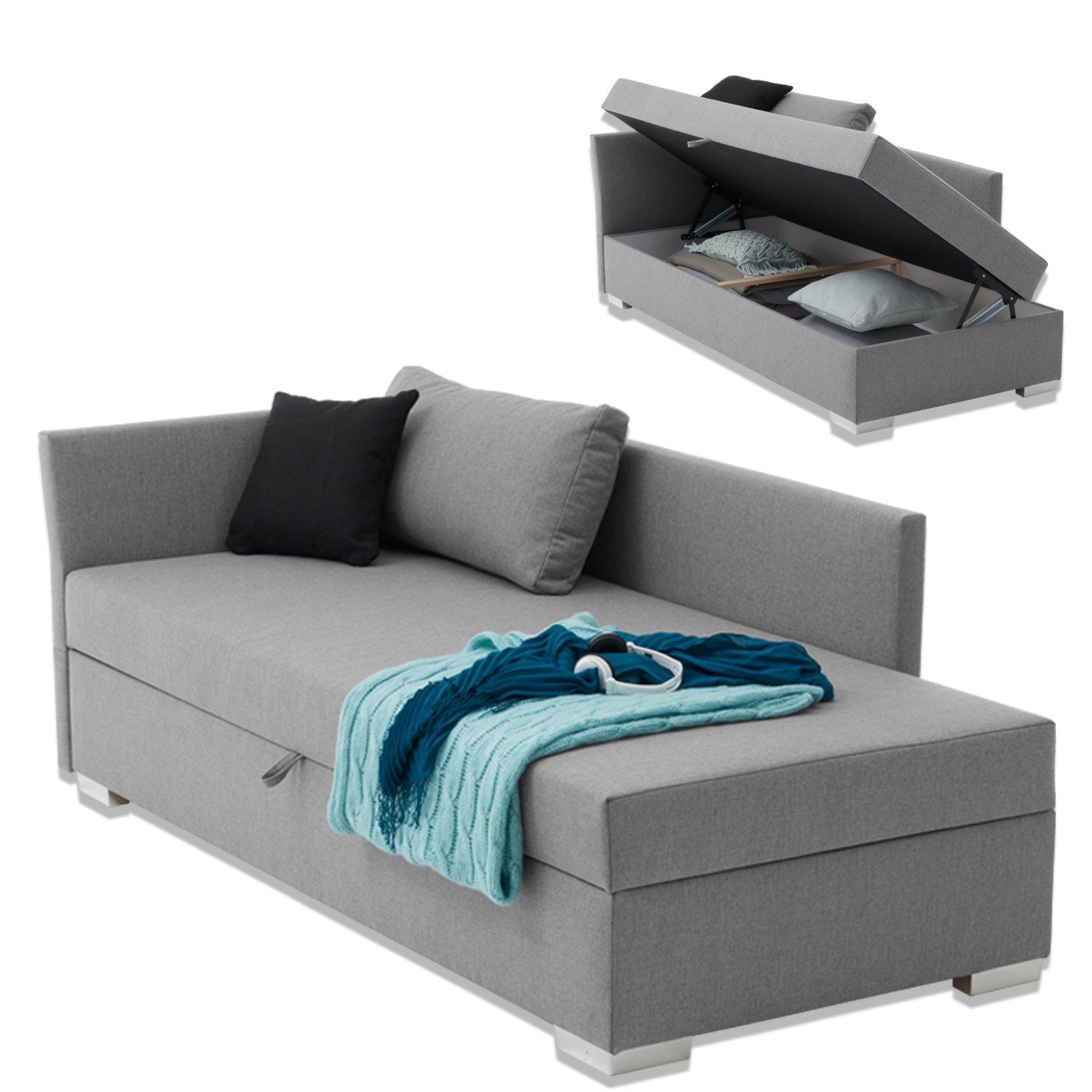 polsterliege havana hellgrau 90x200 cm mit staukasten polsterbetten betten m bel. Black Bedroom Furniture Sets. Home Design Ideas