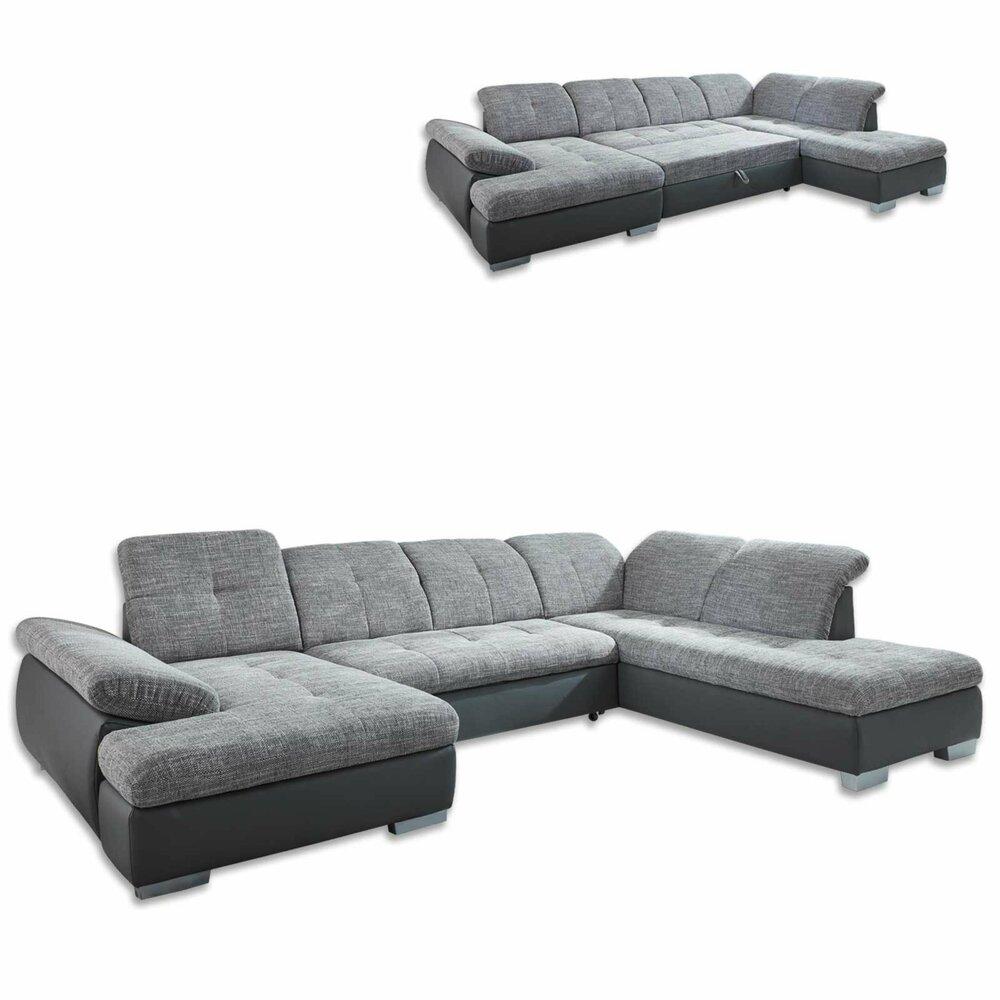 wohnlandschaft grau liegefunktion kopfteilverstellung. Black Bedroom Furniture Sets. Home Design Ideas
