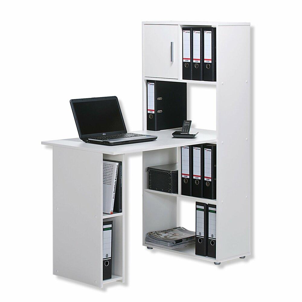Schreibtisch weiß mit regal  Schreibtisch-Regalkombination - weiß - 144 cm Höhe | Rechteckige ...
