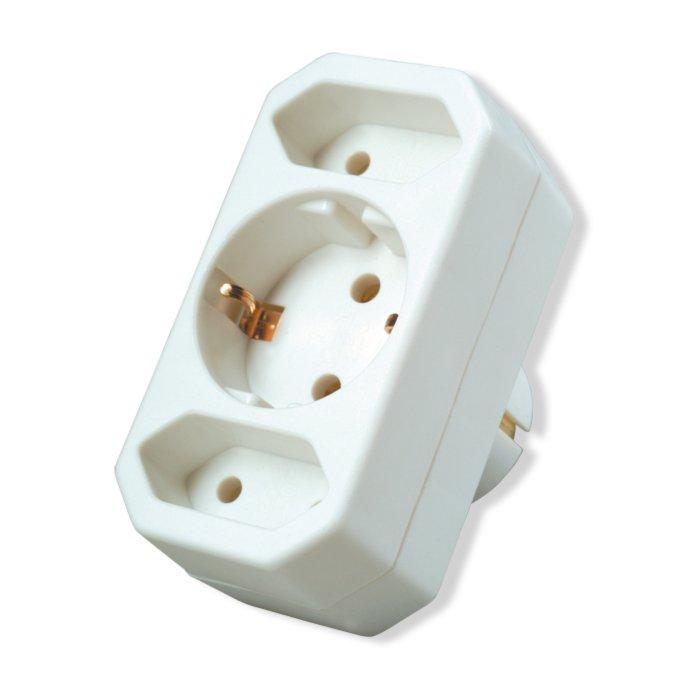 Mehrfachsteckdose - weiß - 3fach-Steckdose