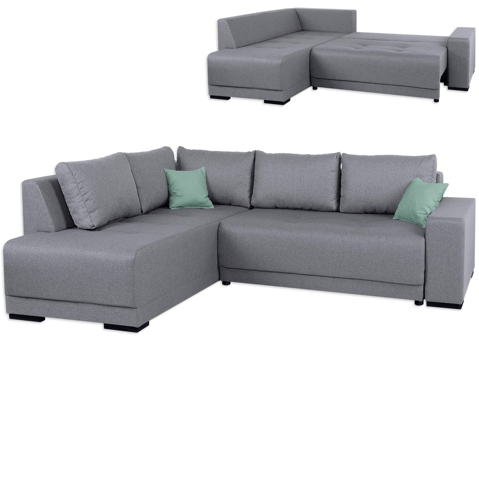 ecksofa grau boxspringfederung beidseitig montierbar ecksofas l form sofas couches. Black Bedroom Furniture Sets. Home Design Ideas