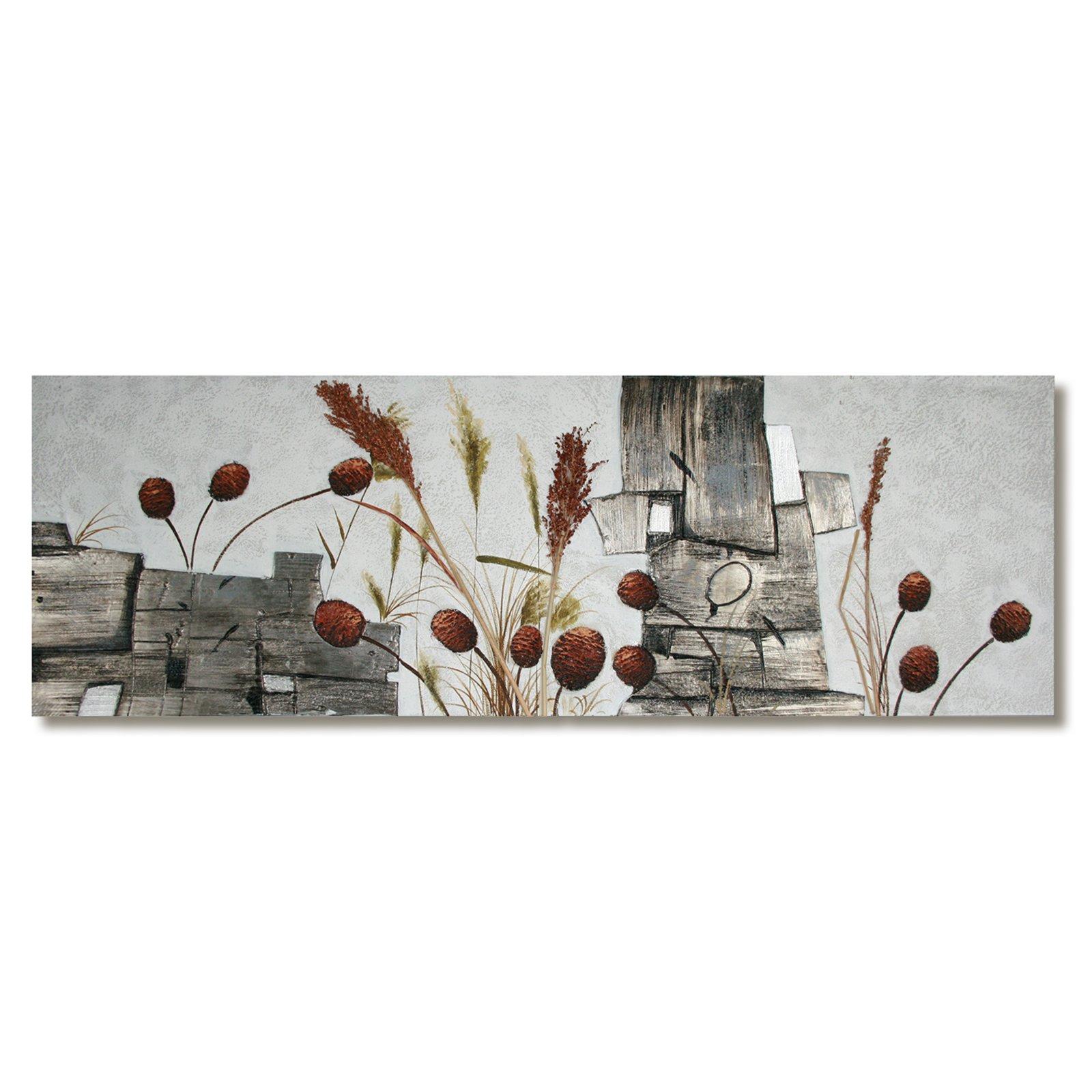 Lgem lde grau braun pflanzen 50x150 cm bilder for Wohnzimmer deko grau braun