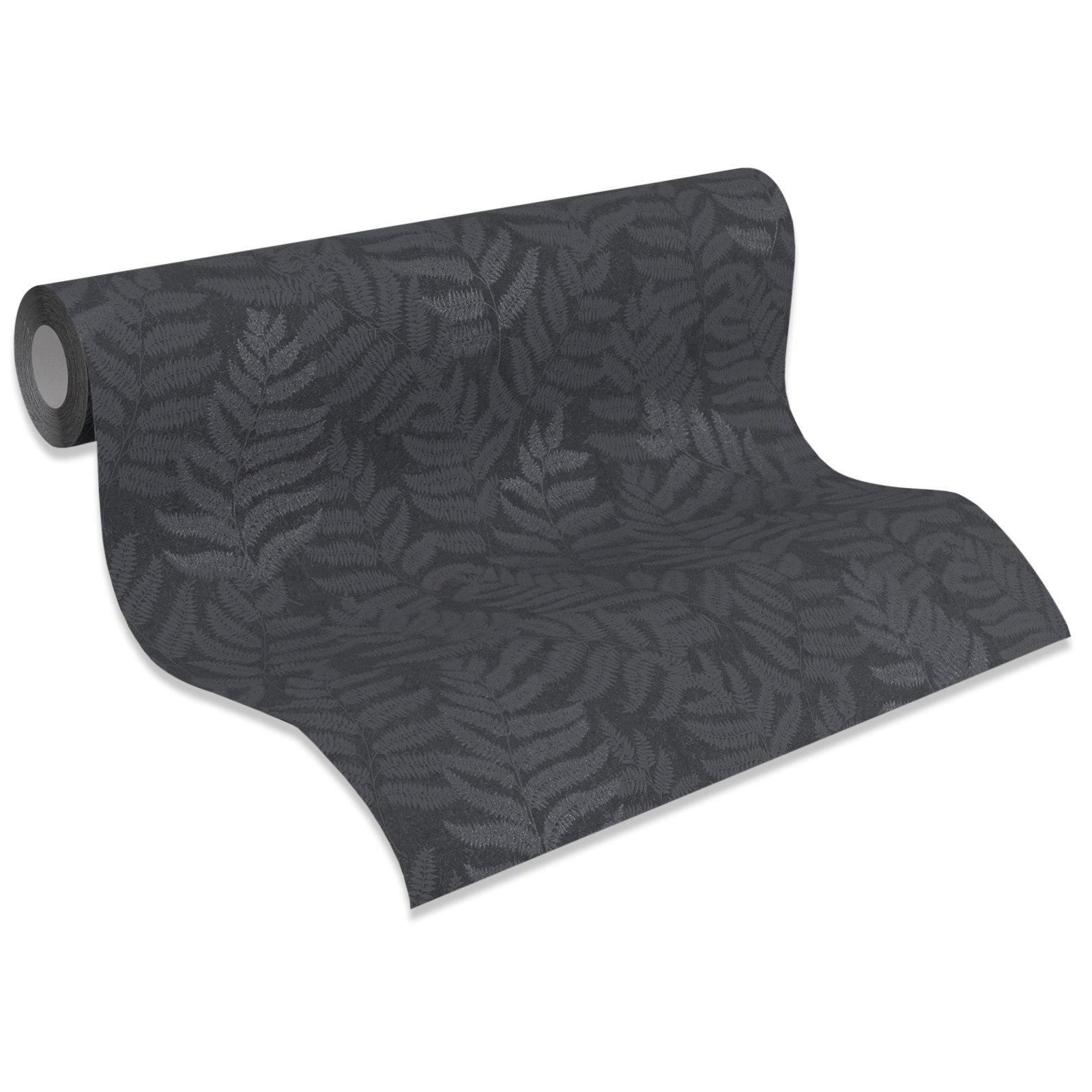 a s creation vliestapete amory schwarz farnbl tter 10 meter vliestapeten tapeten. Black Bedroom Furniture Sets. Home Design Ideas