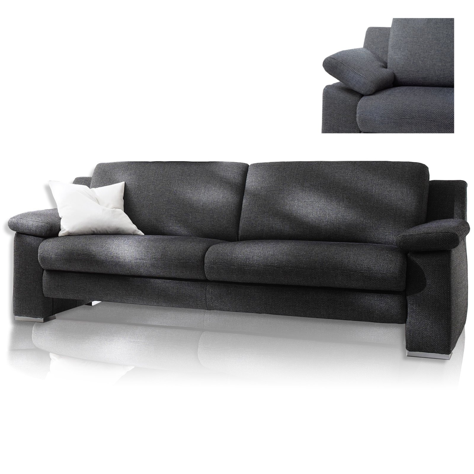 3 sitzer sofa grau mit sitzauszug einzelsofas 2er. Black Bedroom Furniture Sets. Home Design Ideas