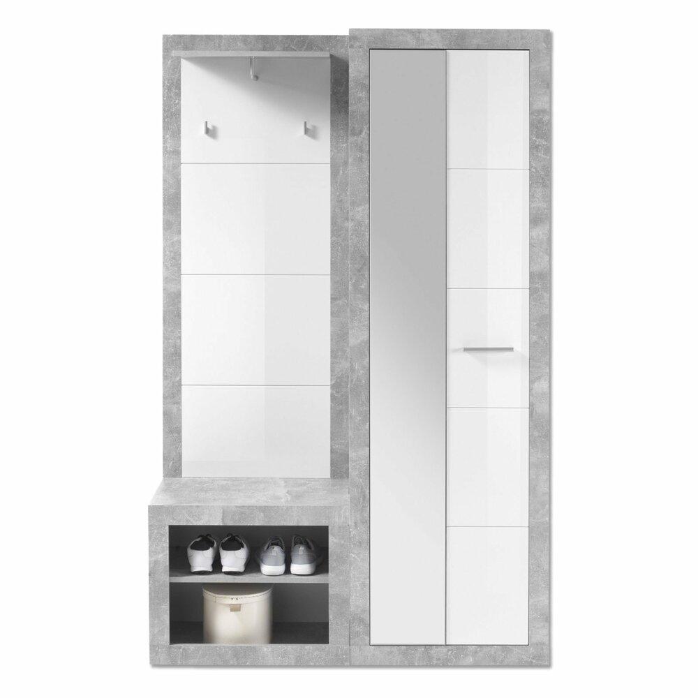 Garderobe stone wei hochglanz betonoptik garderoben for Garderobe roller