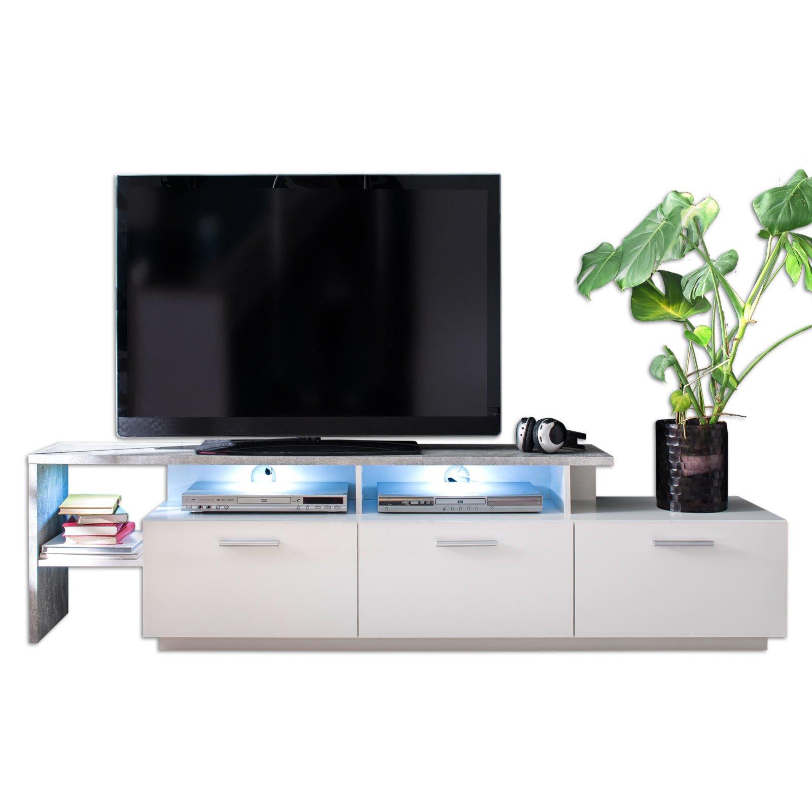 TV-Lowboard STREAM - weiß matt-Beton - 195 cm | Online bei ROLLER ...