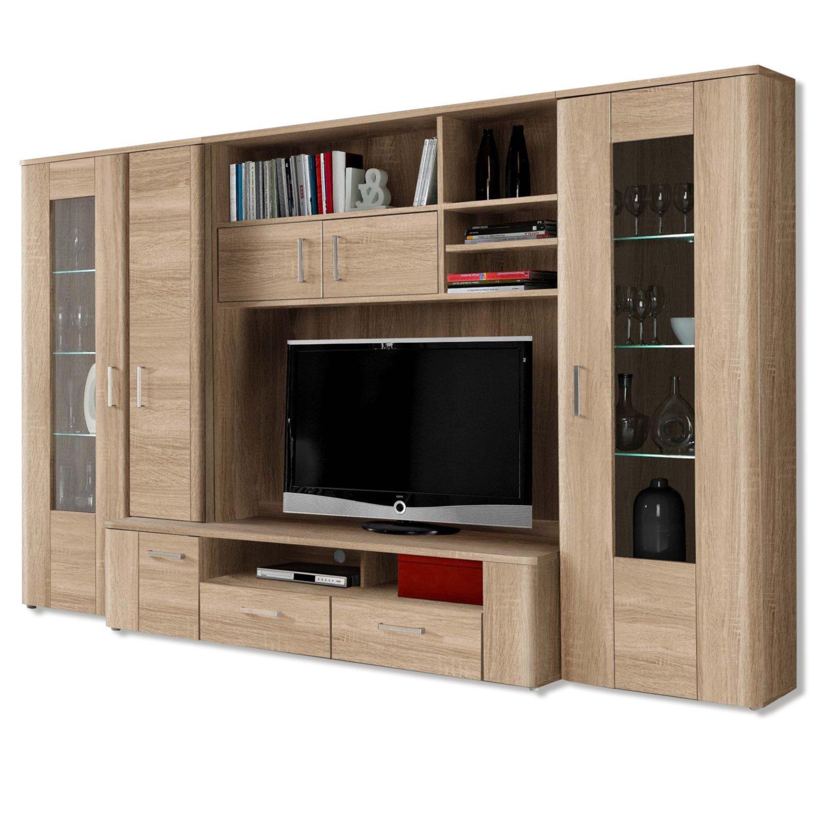 roller wohnwand belmondo sonoma eiche mit beleuchtung ebay. Black Bedroom Furniture Sets. Home Design Ideas