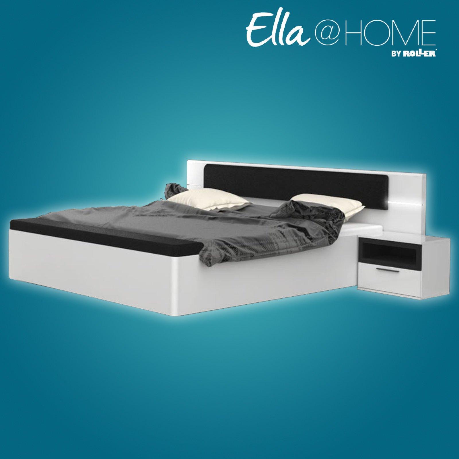 bett palm beach wei hochglanz schwarz beleuchtung. Black Bedroom Furniture Sets. Home Design Ideas