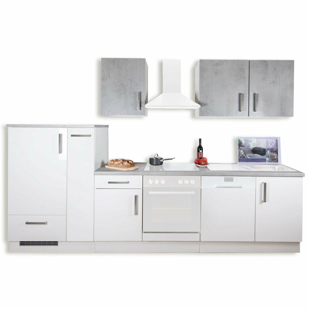 k chenblock marina wei hochglanz betonoptik 310 cm. Black Bedroom Furniture Sets. Home Design Ideas