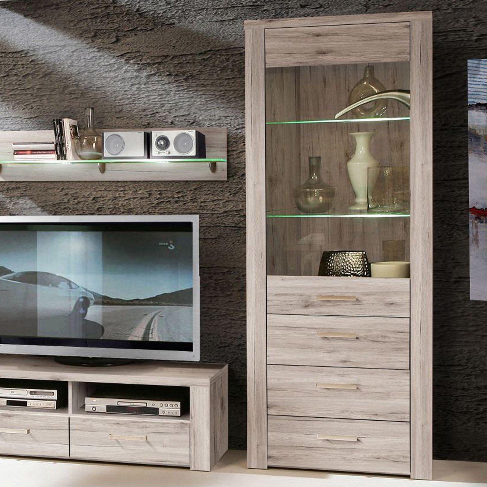 vitrine portland sandeiche mit beleuchtung ebay. Black Bedroom Furniture Sets. Home Design Ideas