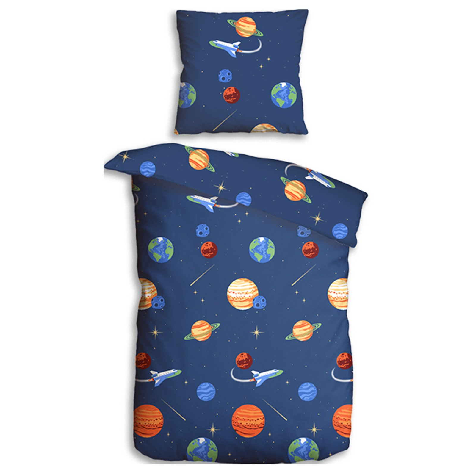microfaser bettw sche universum blau 135x200 cm kinderbettw sche bettw sche. Black Bedroom Furniture Sets. Home Design Ideas