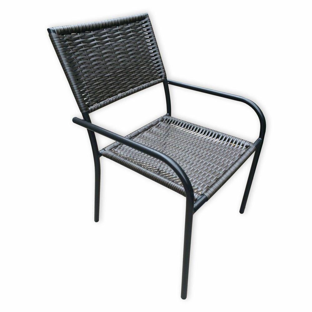 gartenstuhl schwarz rattan optik stapelbar gartenst hle gartenm bel m bel. Black Bedroom Furniture Sets. Home Design Ideas