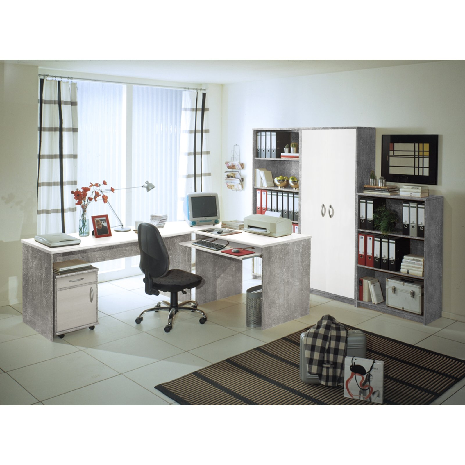 heimb ro office compact betonoptik wei 7 teilig 4038889042718 ebay. Black Bedroom Furniture Sets. Home Design Ideas
