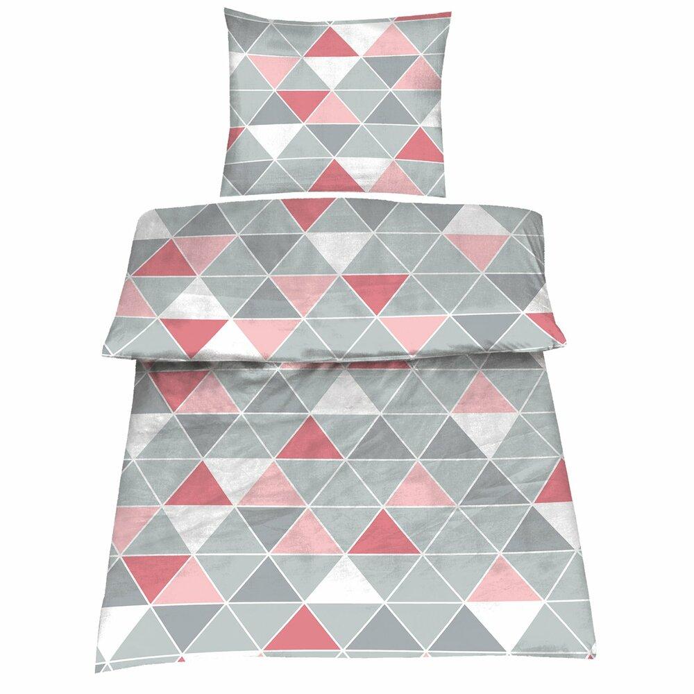 microfaser bettw sche amy wei grau rosa 155x220 cm bettw sche bettw sche bettlaken. Black Bedroom Furniture Sets. Home Design Ideas