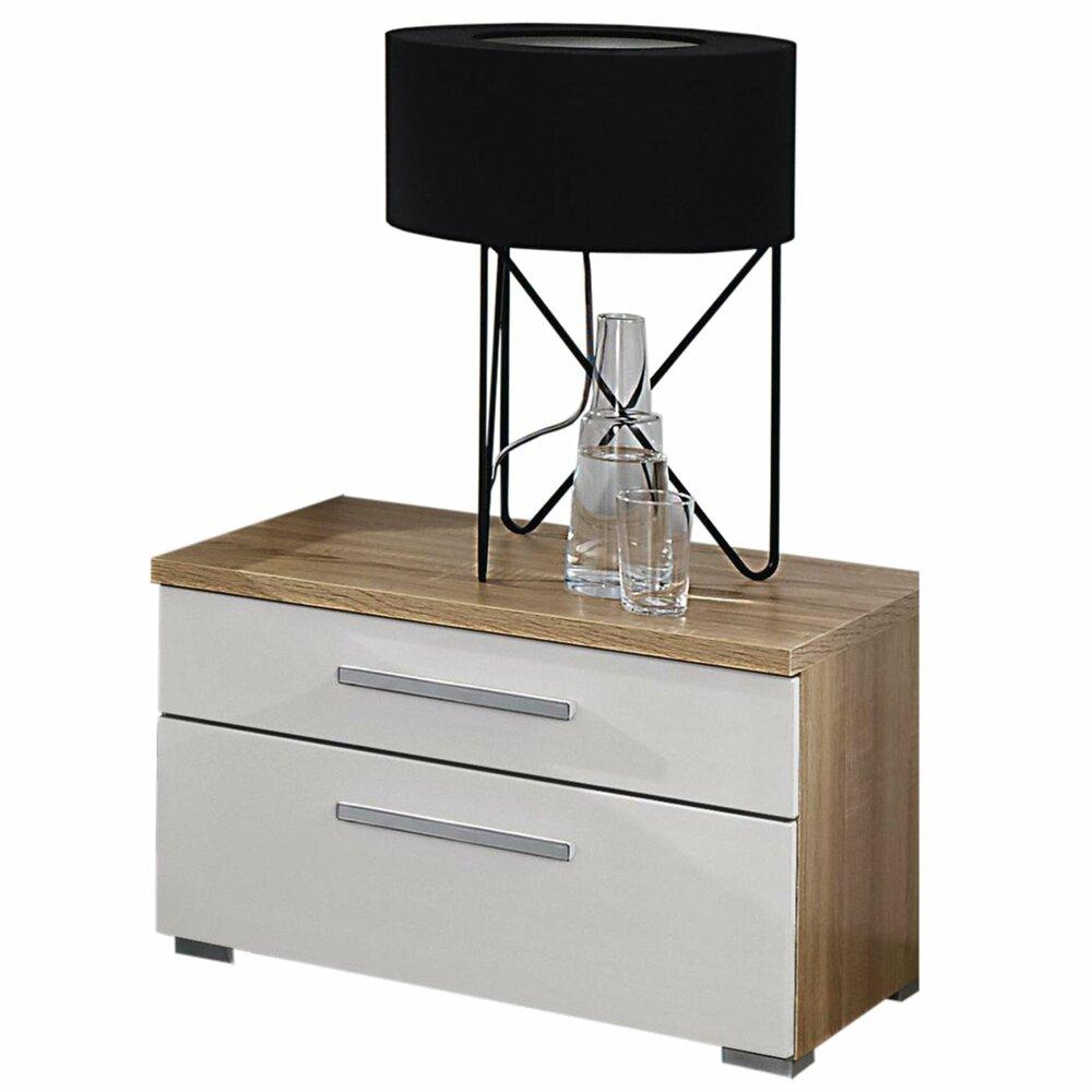 nachttisch solo wei sonoma eiche 57x37 cm nachttische schlafzimmer wohnbereiche. Black Bedroom Furniture Sets. Home Design Ideas
