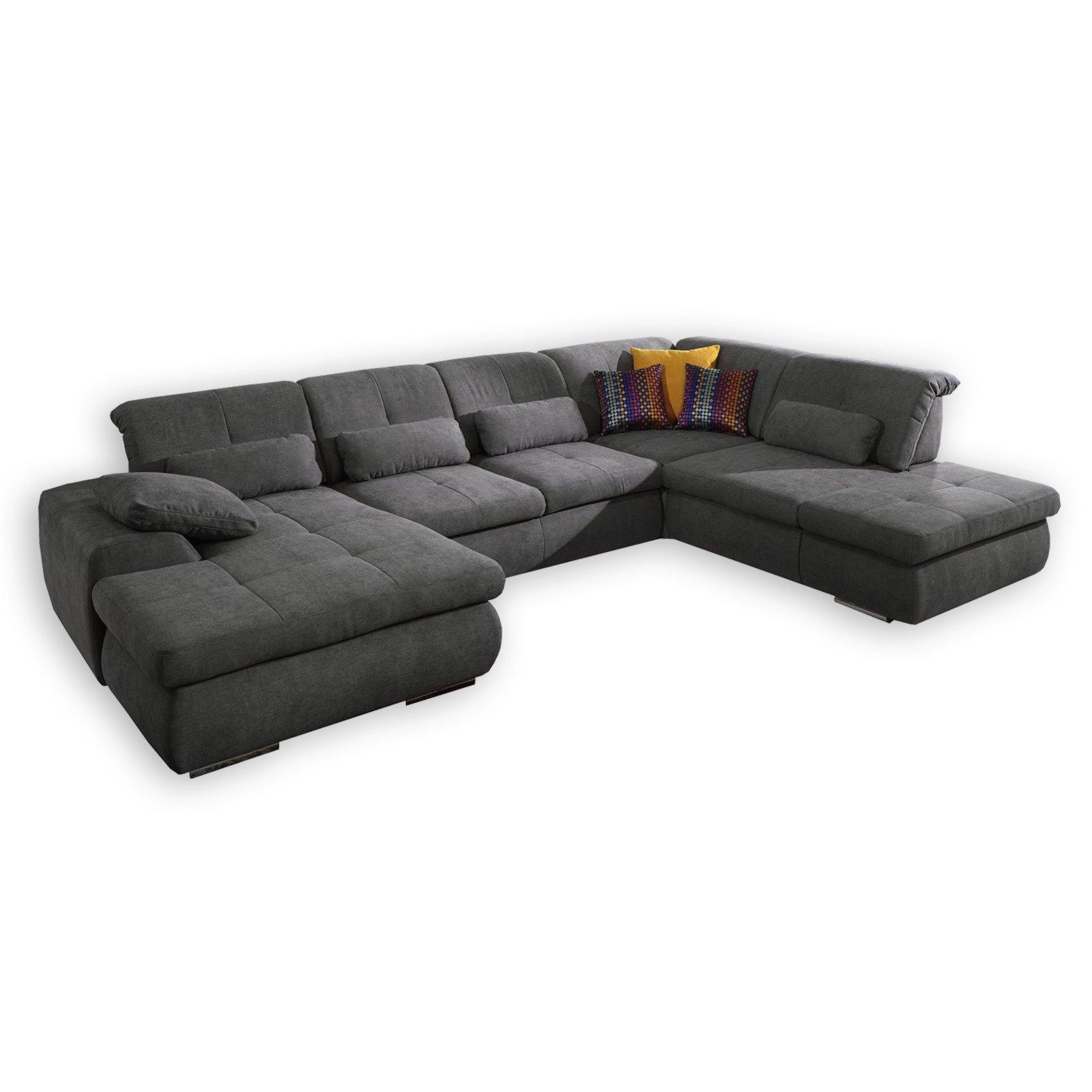 wohnlandschaft anthrazit mit relaxfunktion ebay. Black Bedroom Furniture Sets. Home Design Ideas