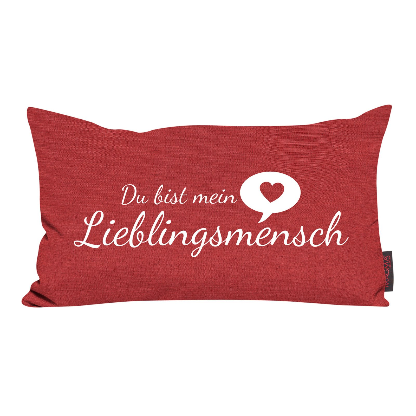 kissen rot lieblingsmensch 30x50 cm sofakissen kissen deko haushalt m belhaus roller. Black Bedroom Furniture Sets. Home Design Ideas